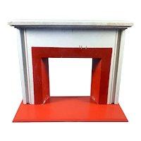 Vintage Tynietoy Wood Fireplace MANTEL & HEARTH 1:12 Dollhouse Miniature
