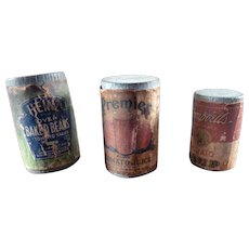 Antique FOOD CANS 1:12 Dollhouse Miniature Food