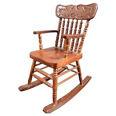 Vintage Reminiscence Wooden ROCKING CHAIR 1:12 Dollhouse Miniature