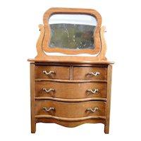 Vintage Reminiscence Oak CHEST OF DRAWERS Dresser 1:12 Dollhouse Miniature