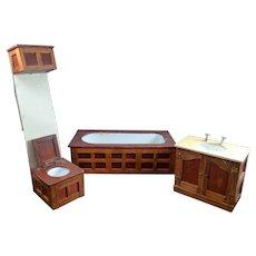 Vintage 4 Piece Wooden BATHROOM SET 1:12 Dollhouse Miniature