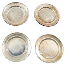 Vintage 4 DINNER PLATES Sterling Silver 1:12 Dollhouse Miniature