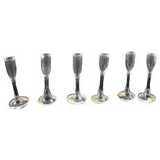 Vintage Hand Blown 6 GLASS CHAMPAGNE FLUTES 1:12 Dollhouse Miniature