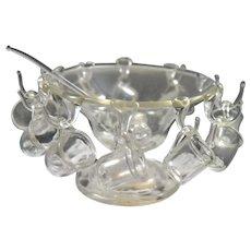 Vintage Punch Bowl 12 GLASS Cups 1:12 Dollhouse Miniature