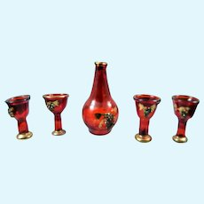 Vintage Keramos Studios Ruby Glass DECANTER & 4 GASSES 1:12 Dollhouse Miniature