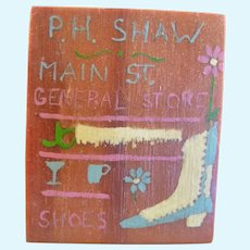 Vintage Hand Painted STORE SIGN 1:12 Dollhouse Miniature