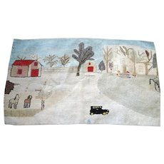 *PENNY MARSHALL Estate* c.1910 Amazing Antique Primitive Folk Art Rag Hook Rug
