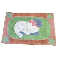 *PENNY MARSHALL Estate* Amazing Antique 19th Century SHEEP Primitive Folk Art Hook Rug