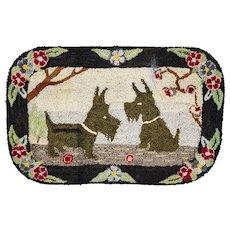 *PENNY MARSHALL Estate* Amazing 1930s SCOTTY DOG Primitive Folk Art Rag Hook Rug