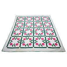 *PENNY MARSHALL Estate* Pink Floral Wreath Quilt With Decorative Stitching