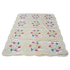 *PENNY MARSHALL Estate* Morning Glory Applique Quilt With Decorative Stitching