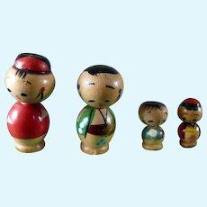Vintage Asian NODDER TOYS Family 1:12 Dollhouse Miniature