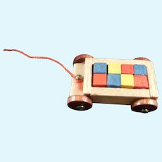 Vintage Artist Signed Block PULL Toy 1:12 Dollhouse Miniature