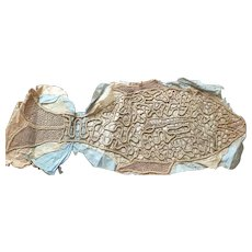 """UNUSUAL Vintage 1920s FRENCH 26"""" Gold Embroidery Lace Fish"""