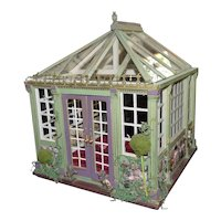Artist Made GREENHOUSE Solarium Music Room 1:12 Dollhouse Roombox
