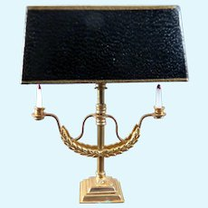 Vintage Wired Gilt Metal TABLE LAMP 1:12 Dollhouse Miniature