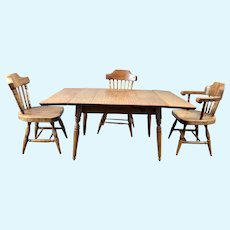 Vintage Artist D. Harvey Drop Leaf TABLE & 3 CHAIRS 1:12 Dollhouse Miniature