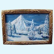 Vintage Artist ORIGINAL PAINTING Winter Mountain Scene 1:12 Dollhouse Miniature