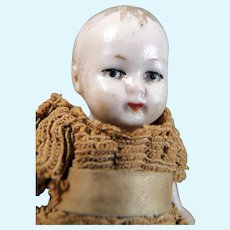 "Antique 2.5"" German BISQUE BABY DOLL 1:12 Dollhouse Miniature"