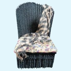 Artist Made WICKER CHAIR With Blanket 1:12 Dollhouse Miniature