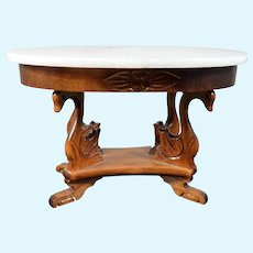 Vintage Carved Swan & Marble Top TABLE 1:12 Dollhouse Miniature