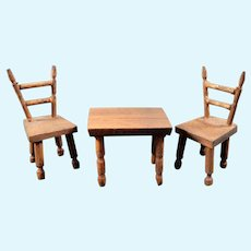 Vintage Artist Made TABLE & 2 CHAIRS 1:24 Dollhouse Miniature