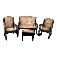 Antique German LIVING ROOM SET Chairs & Sofa 1:12 Dollhouse Miniature