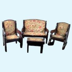 Antique German LIVING ROOM SET Chairs & Sofa 1:12 Dollhouse Miniature