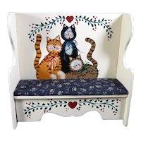 Vintage Artist Terri Hill Painted CATS BENCH Dollhouse Miniature 1:12