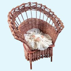 Artist Made WICKER CHAIR With Pillow 1:12 Dollhouse Miniature