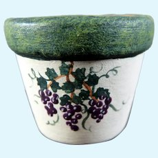 Vintage Artist Terri Hill Painted FLOWER POT 1:12 Dollhouse Miniature