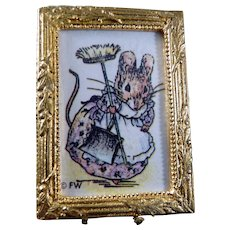 Cute Nursery BUNNY Framed Picture 1:12 Dollhouse Miniature