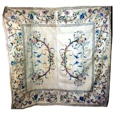 Exceptional Museum Quality Mid 18th Century Hand Painted and Silver Embroidered European Chinoiserie 6 FT Coverlet