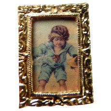 Small Ornate Gold FRAMED PICTURE 1:12 Dollhouse Miniature