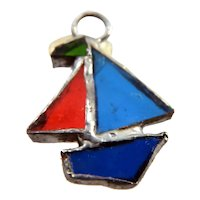 Artist Made Boat Stained Glass SUNCATCHER 1:12 Dollhouse Miniature