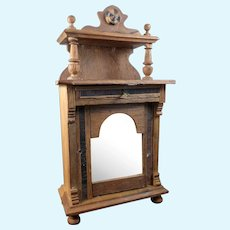 Antique 1880s German Wood MIRRORED CABINET 1:12 Dollhouse Miniature