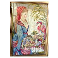 "Antique 1870s Victorian Needlepoint Picture BEAUTIFUL WOMAN & PARROT 20""x 30"""