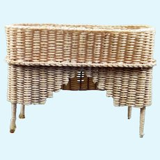 Artist Made WICKER PLANT STAND Table 1:12 Dollhouse Miniature