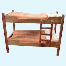 Vintage Wood Dressed BUNK BEDS 1:12 Dollhouse Miniature