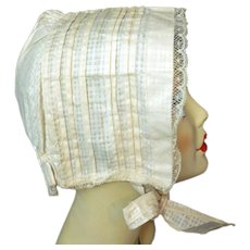 Antique 1800s BONNET Hat Cotton & Lace
