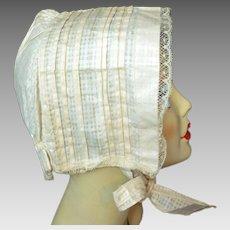 Antique 1800s BONNET Hat Cotton & Lace