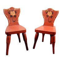 Pair Antique German Wooden CHAIRS 1:12 Dollhouse Miniature