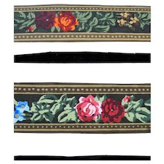 """Antique 19th Century C.1880 2 Hand Painted 13.5"""" WALLPAPER for Roombox Dollhouse"""