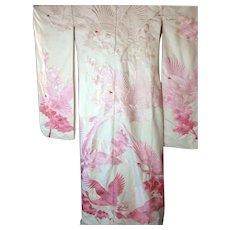 Vintage Japanese Embroidered White Ombre Pink Wedding Uchikake Kimono Peony & Cranes