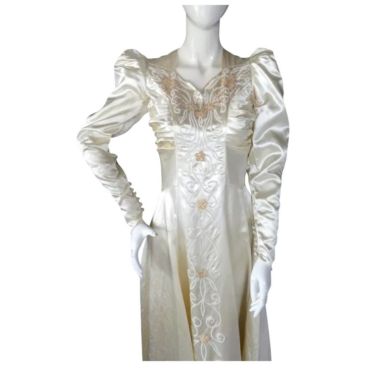 1930s Moonlight Satin Wedding Gown HOLLYWOOD GLAMOUR 6 Ft Train