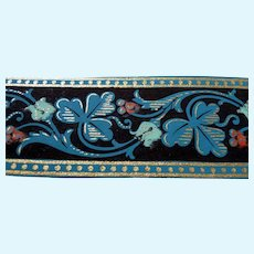 Antique 19th Century C.1880 Hand Painted WALLPAPER Trim for Roombox Dollhouse