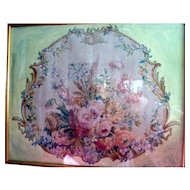 LARGE Original 19th Century Aubusson Cartoon Floral Painting SHABBY CHIC