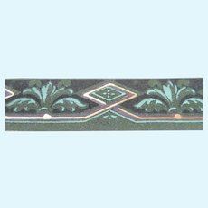 Antique C.1880 Flocked Victorian Hand Painted WALLPAPER Trim Roombox Dollhouse