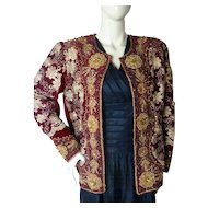 Vintage Indian Metallic Heavily Embrodiered Jacket Coat Evening Christmas Medium-Large
