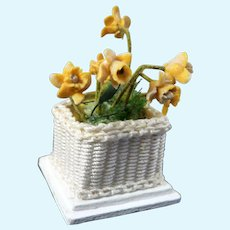 Vintage Artist Signed Wicker FLOWER POT 1:12 Dollhouse Miniature